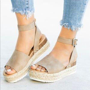 Espadrille Wedge Sandals - Dark Natural